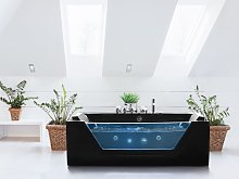 Massage Points Bath Black Silver with LED Sanitary
