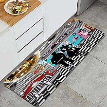 MATEKULI Kitchen Rugs,50s Diner Backdrop,Non-slip