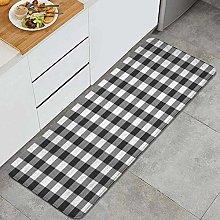 MATEKULI Kitchen Rugs,Classic Black White Stripes