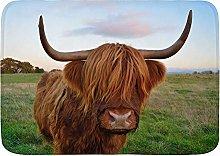 MATEKULI Non-slip Bath Mat Thin,Highland cattle