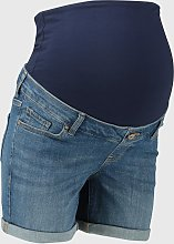MATERNITY Dark Denim Overbump Boy Shorts - 10