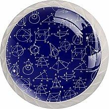 Math Art Blue 4 Pieces Crystal Glass Wardrobe