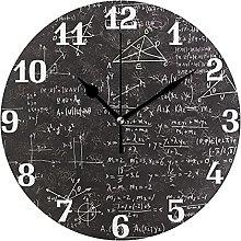 Math Education Formula Theme Wall Clock Silent Non