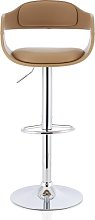Matos Bar Stool In Taupe Faux Leather With Chrome