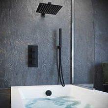 Matt Black Concealed Bath Filler Shower Pack