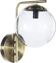 Matte Golden Metal Wall Light with Smoked Glass