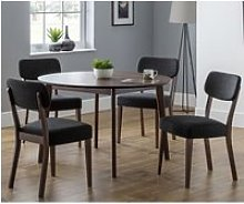 Matteson Round Dining Table In Walnut With 4