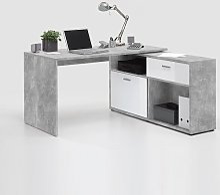 Mattia Corner Computer Desk In White Gloss And