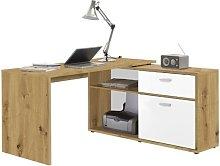 Mattia Wooden Corner Computer Desk In Artisan Oak