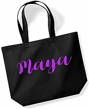 Maya Personalised Shopping Tote in Black Colour