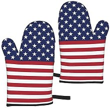 MayBlosom American Flag Stars Stripes Oven Mitts
