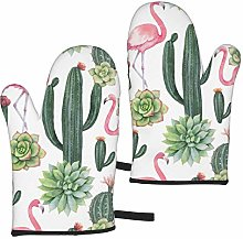 MayBlosom Cactus and Flamingos Pattern Oven Mitts