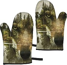 Mayblosom Forest Water Wolf Oven Mitts,Glove