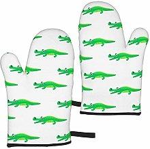 MayBlosom Green And White Crocodile Oven Mitts