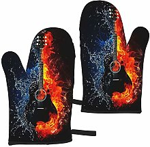 Mayblosom Oven Mitts,Fire Guitar On Fire Heat