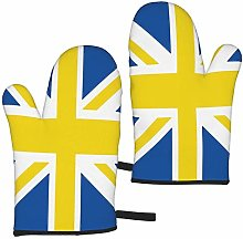 Mayblosom Oven Mitts,Leeds Blue White Yellow Union