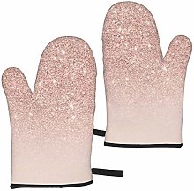 MayBlosom Oven Mitts Rose Gold Faux Glitter Pink
