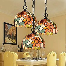 MAZ Lighting 3 Lights Chandelier Stained Glass