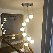 MAZ Lighting 8 Glass Ball Spiral Chandelier Stair