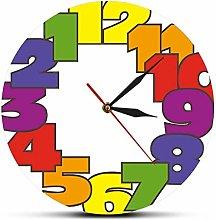 mazhant Big Numbers Backwards Wall Clock Modern