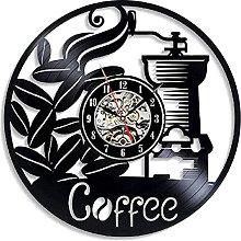 mbbvv Coffee LED Vinyl Record Wall Clock Retro 3D