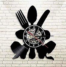 mbbvv Vinyl Wall Clock Christmas Fork Spoon Knife