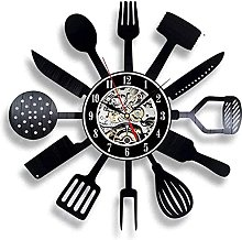 mbbvv Vinyl Wall Clock Kitchen Knife And Fork Chef
