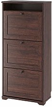 MBI Shoe cabinet with 3 compartments Brown,