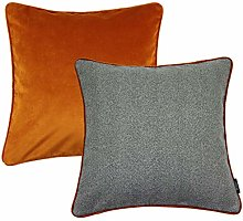 McAlister Textiles Grey + Orange Cushion Covers