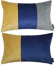 McAlister Textiles Set of 2 Patchwork Velvet Throw