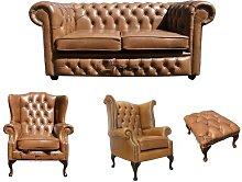 McLoud Chesterfield 4 Piece Leather Sofa Set
