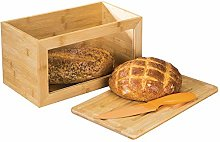 mDesign Bamboo Bread Box Bin with Hinged Lid and