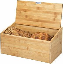 mDesign Bamboo Bread Box Bin with Hinged Lid for