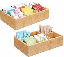 mDesign Bamboo Wood Compact Tea & Food Storage