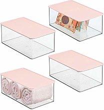 mDesign Bathroom Plastic Stackable Storage Box
