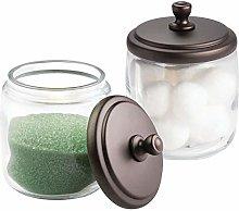 mDesign Bathroom Vanity Glass Canister Jar for