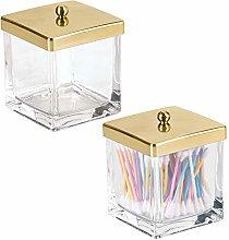 mDesign Bathroom Vanity Square Glass Storage