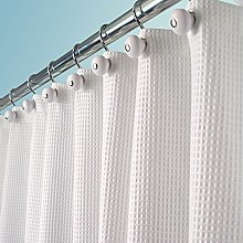 mDesign Cotton Shower Curtain – Curtain for