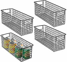 mDesign Deep Wire Storage Basket for Kitchen,