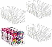 mDesign Deep Wire Storage Basket for Kitchen,