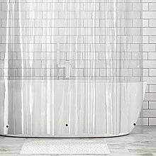 mDesign Extra Long Fabric Shower Curtain - Water