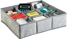 mDesign Fabric Desk Drawer Storage Organizer for