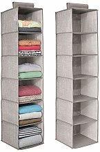 mDesign Fabric Hanging Wardrobe Storage Organiser