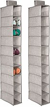 mDesign Fabric Hanging Wardrobe Storage Organiser,