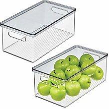 mDesign Fridge Storage Box with Handles —