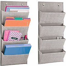 mDesign Hanging Fabric Office Supplies Storage