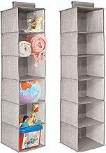mDesign Hanging Wardrobe Organiser - Set of 2 -