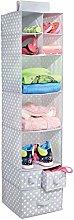 mDesign Hanging Wardrobe Organiser - With 7