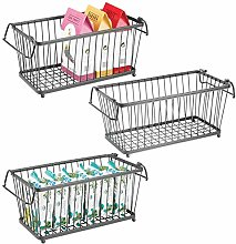 mDesign Household Stackable Metal Wire Storage