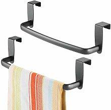 mDesign Kitchen Over Cabinet Metal Towel Bar -